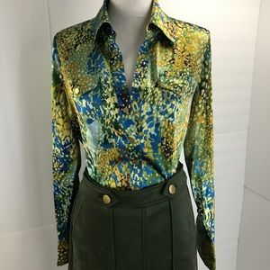 Cache silk fitted fall colors blouse M snap button